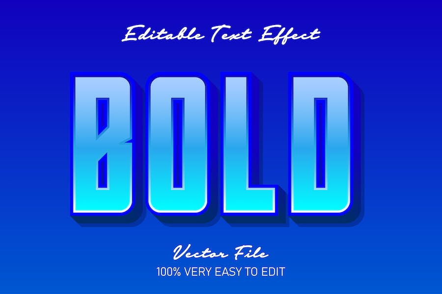 Blue bold fresh text style effect