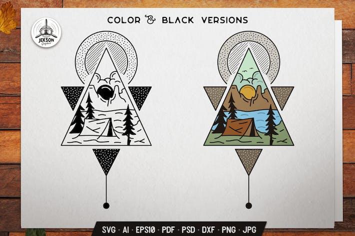 Sacred Geometry Badge Design. Camping Line Art