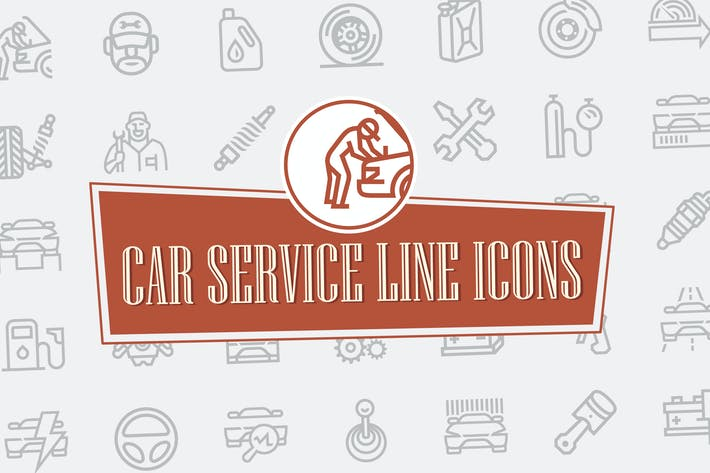 Thumbnail for Car Repair Service Line Icons