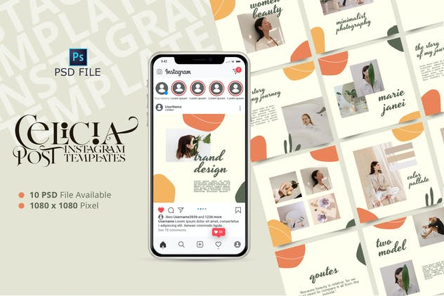 CELISIA - Fashion Instagram Post Template - product preview 0