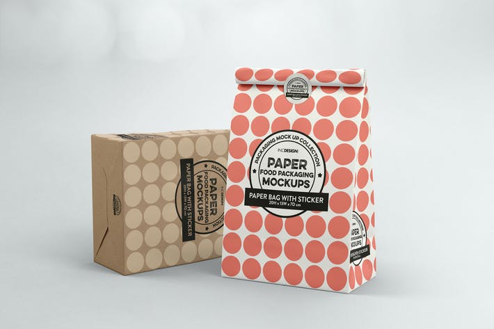 Thumbnail for Paper Bag with sticker Seal Packaging Mockup