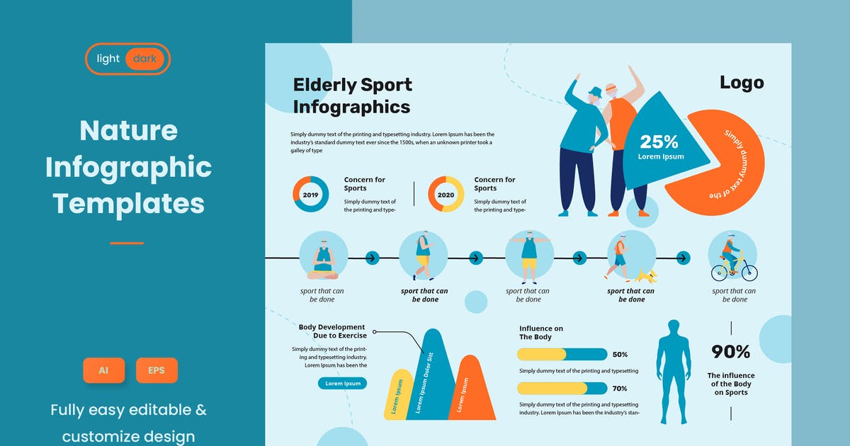 Download Sport Infographic Template for Elderly People by pinisiart