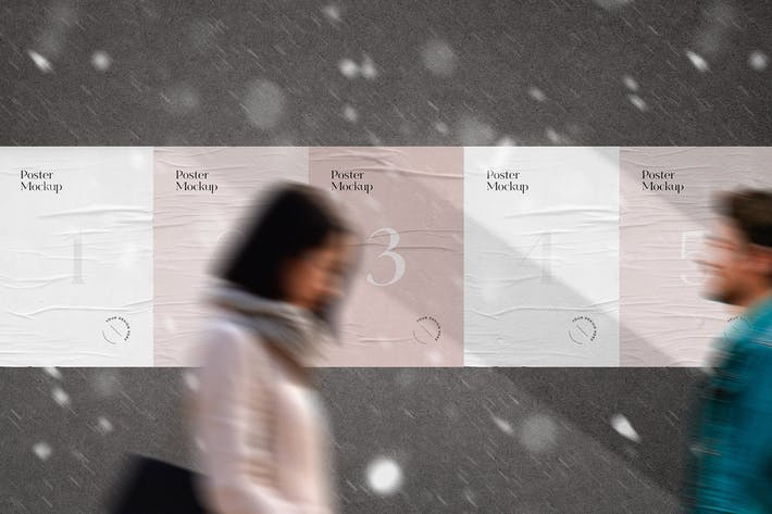 Thumbnail for Street Wall geklebte Poster Mockup