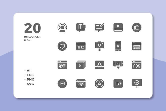 Cover Image For 20 Influencer Icons (Solid)