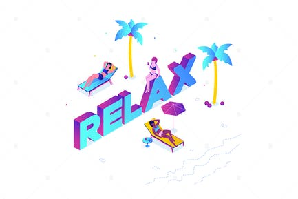 Relaxation concept - isometric illustration