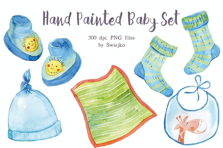 Thumbnail for Watercolor, Blue Baby Set
