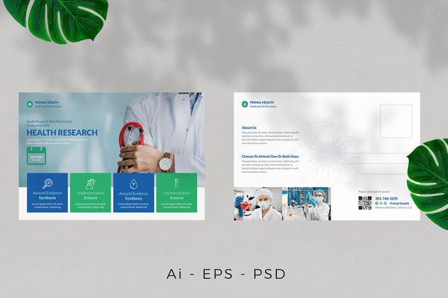 Health Research Postcard Design - product preview 0