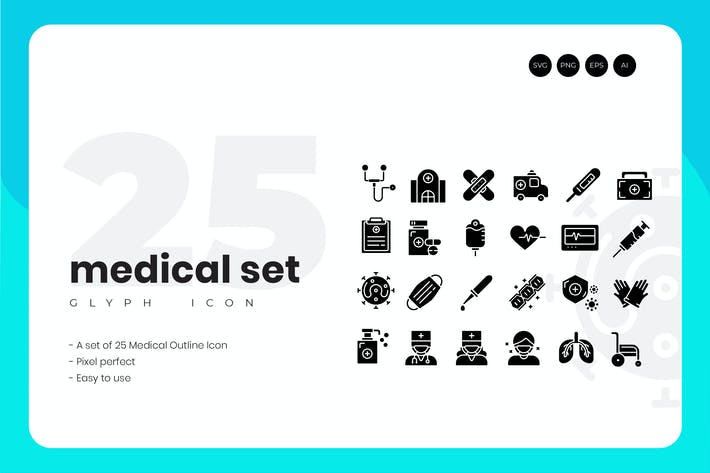 Thumbnail for 25 Medical Glyph Icon Set