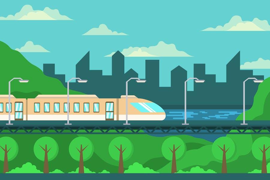 Maglev Train - Landscape Illustration