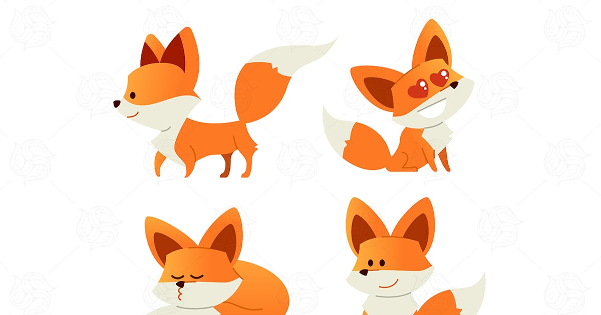 Download Fox- modern vector set of flat illustrations. by BoykoPictures