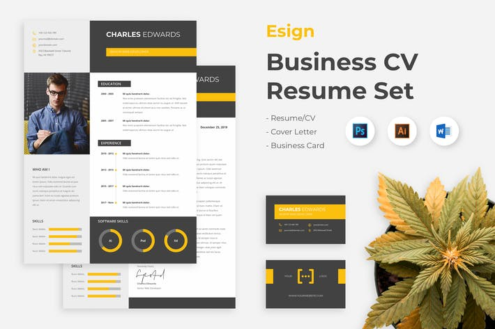 Thumbnail for Business Clean Resume CV Set - Esigns