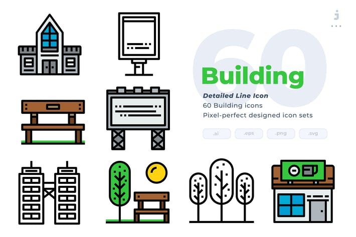 Thumbnail for 60 Building Icons - Detailed Line Icon
