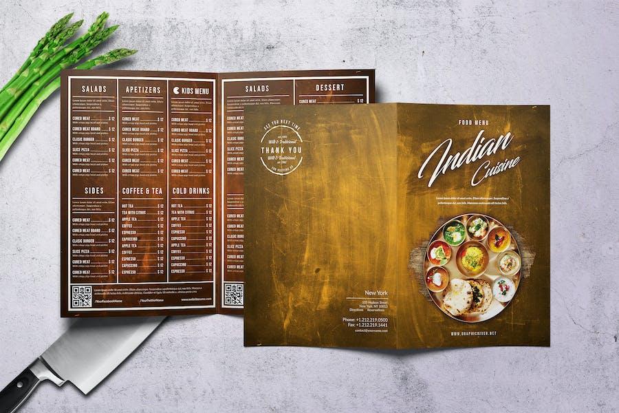 Indian Cuisine A4 & US Letter Bifold Menu