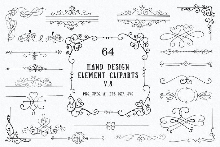 Thumbnail for 60+ Hand Design Element Cliparts Ver. 8