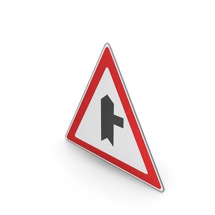 Verkehrszeichen Geringfügige Straße nach rechts