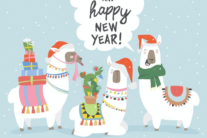 Cover Image For Vector Christmas card with llama. Merry Christmas