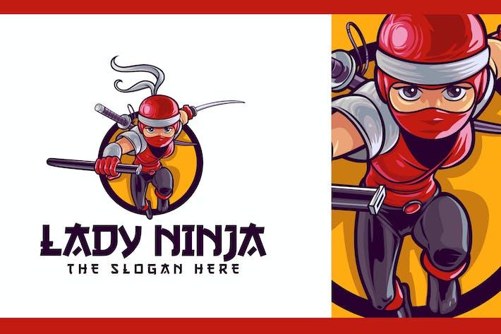 Thumbnail for Japanische Lady Ninja Charakter Maskottchen Logo