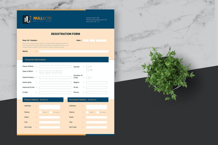 Thumbnail for Registration Form Template Residential