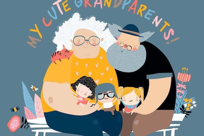 Happy grandparents with their grandchildren sittin
