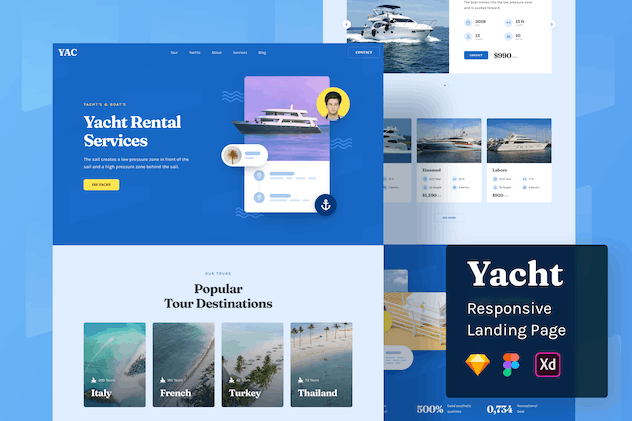 Yacht Responsive Landing Page