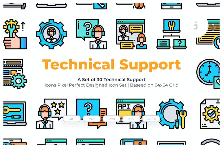 Thumbnail for 30 Technical Support Icons