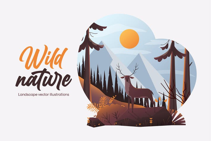 Beautiful wildlife landscape illustration