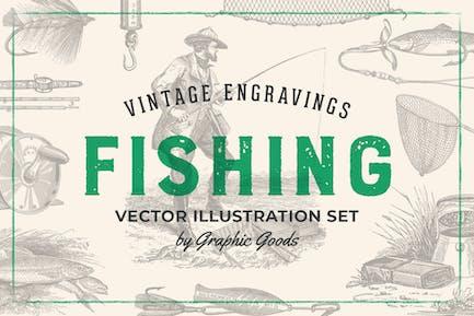 Pesca - Kit de ilustración grabado Vintage