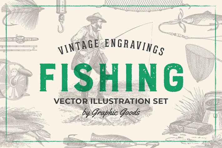 Fishing – Vintage Engraving Illustration Set