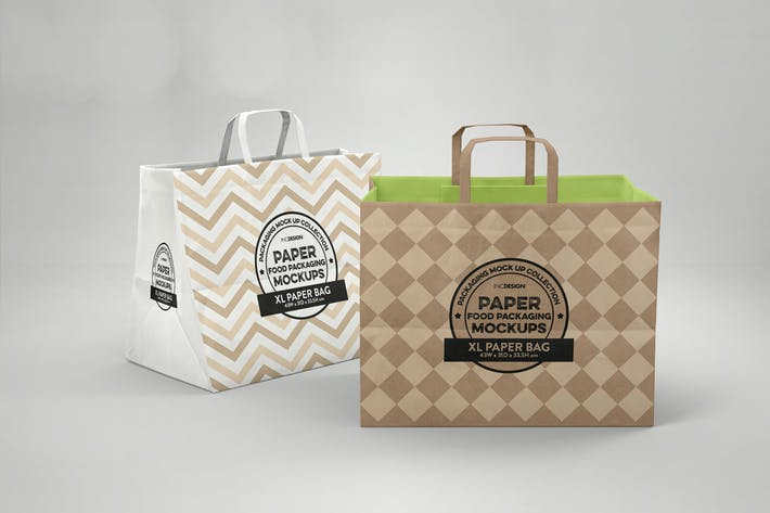 Thumbnail for XL Paper Bags with Flat Handles Mockup