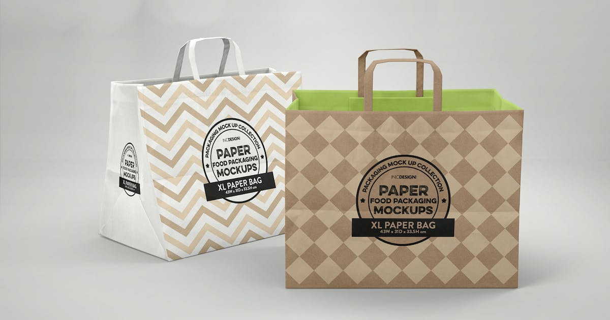 Download XL Paper Bags with Flat Handles Mockup by ina717