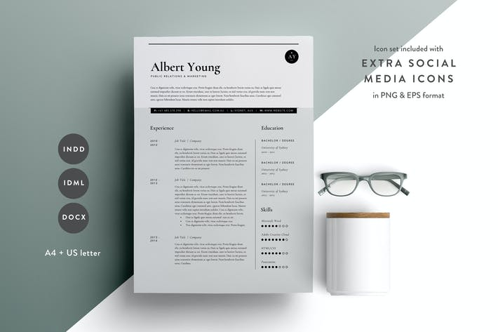 Cover Image For Resume Template 3 Page | CV Template | INDD + DOCX