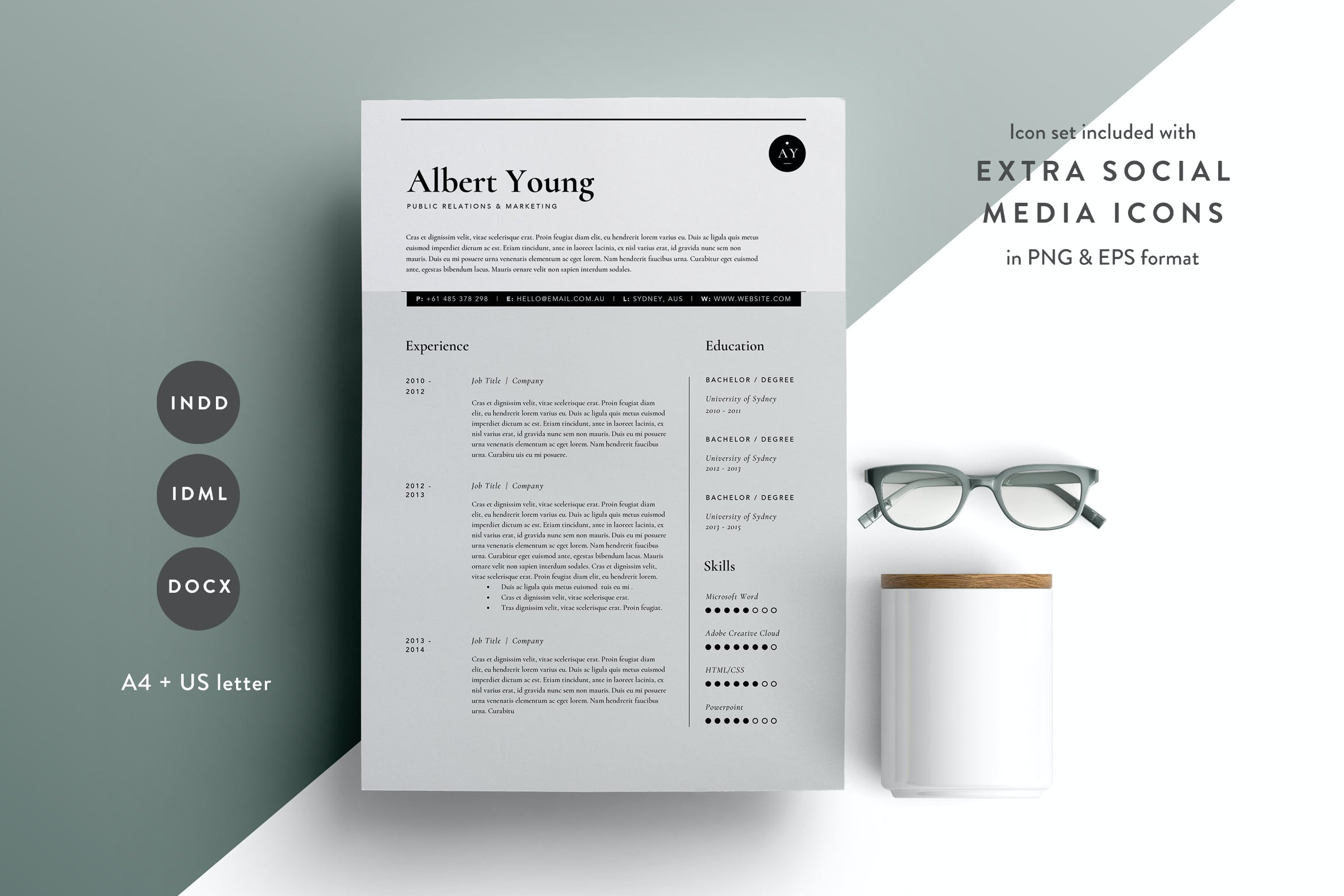 Resume Template 3 Page | CV Template | INDD + DOCX by ...