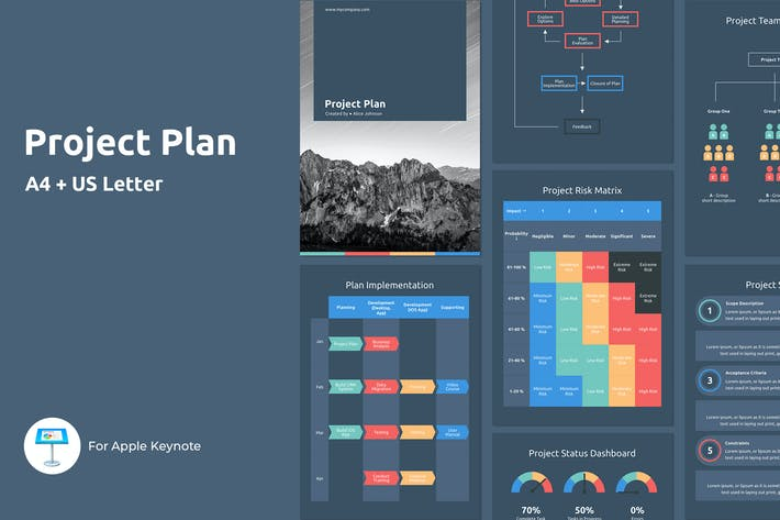 Thumbnail for Project Plan - A4 Vertical Keynote Template