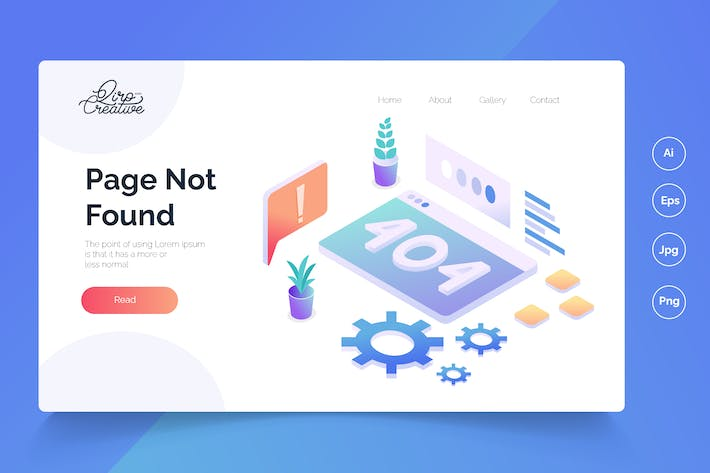 Thumbnail for Page Not Found - Isometric Landing Page