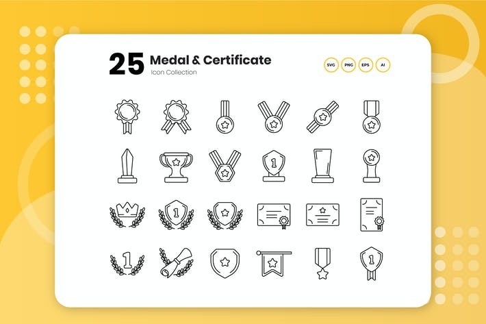 Thumbnail for 25 Medal & Certificate Outline Icon Set