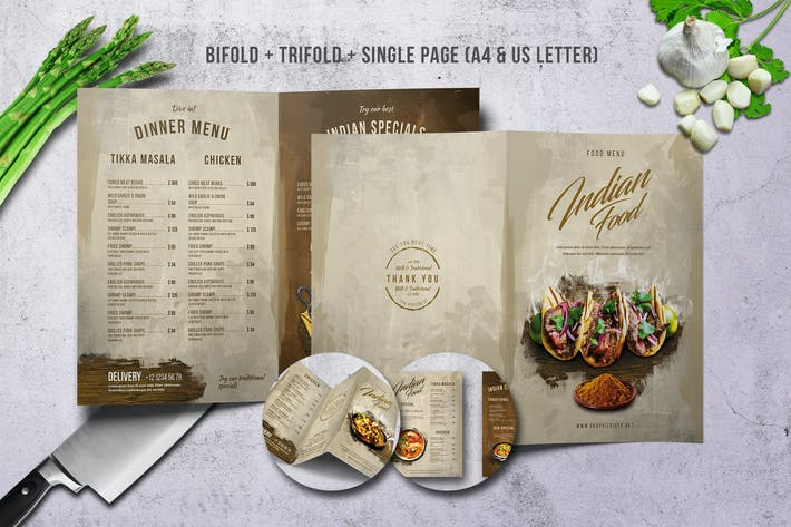Indian A4 & US Letter Menu Bundle by Novocaina on Envato