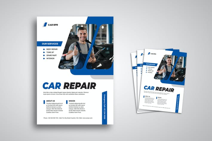 Cover Image For Car Repair Flyer Promo Template