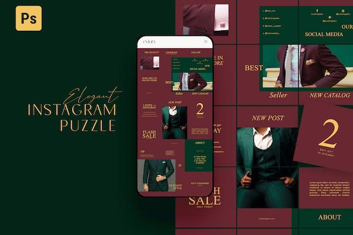 Thumbnail for Elegant Puzzle Instagram Maroon Green
