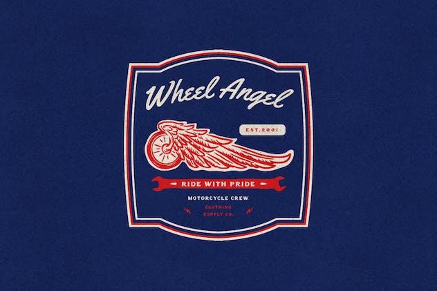 Tires Wings Motorcycle Garage Club Logo Badge