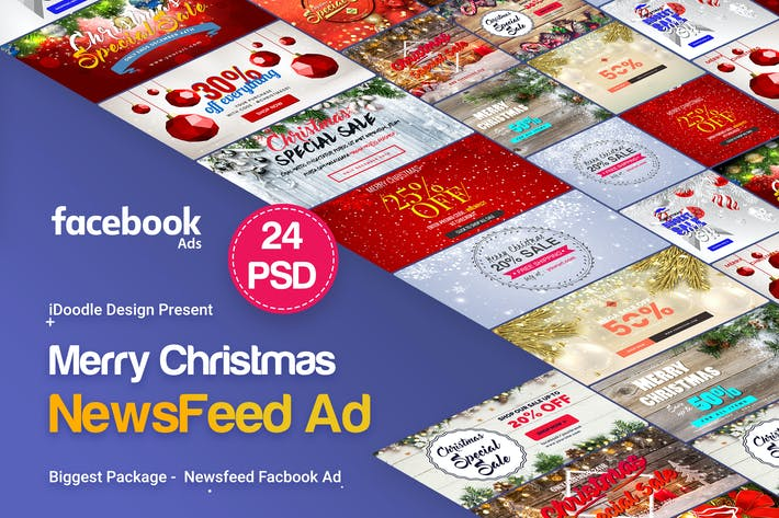 Cover Image For Merry Christmas NewsFeed Banners Ad - 24PSD