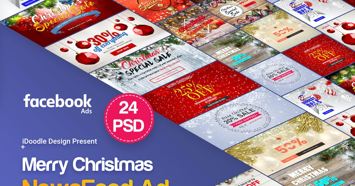 Download Merry Christmas NewsFeed Banners Ad - 24PSD by iDoodle