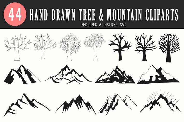 Cover Image For 40+ Tree & Mountain Handmade Cliparts