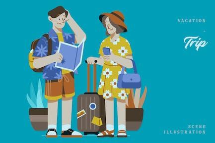 Vacaciones - Ilustración de escena del viaje