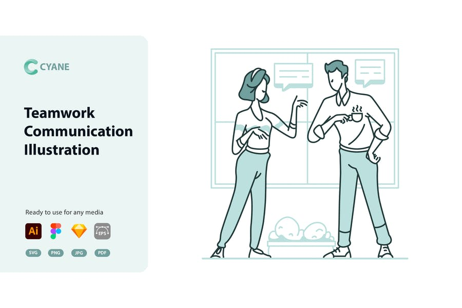 Cyane - Illustration der Teamwork-Kommunikation