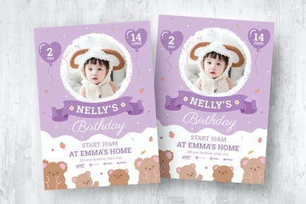 Baby Girl's Birthday Flyer Template