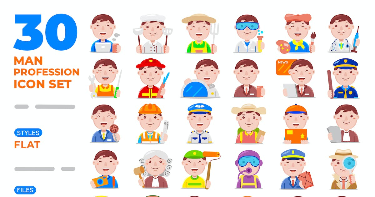 Download Man Profession Icon Set (Flat) by medzcreative