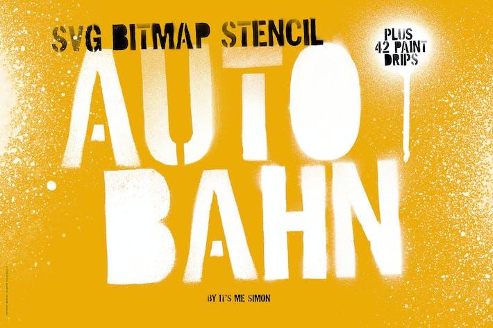 Thumbnail for Stencil Autobahn SVG bitmap font