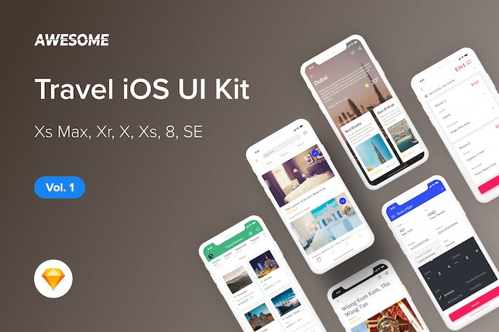 Thumbnail for Awesome iOS UI Kit - Travel Vol. 1 (Sketch)