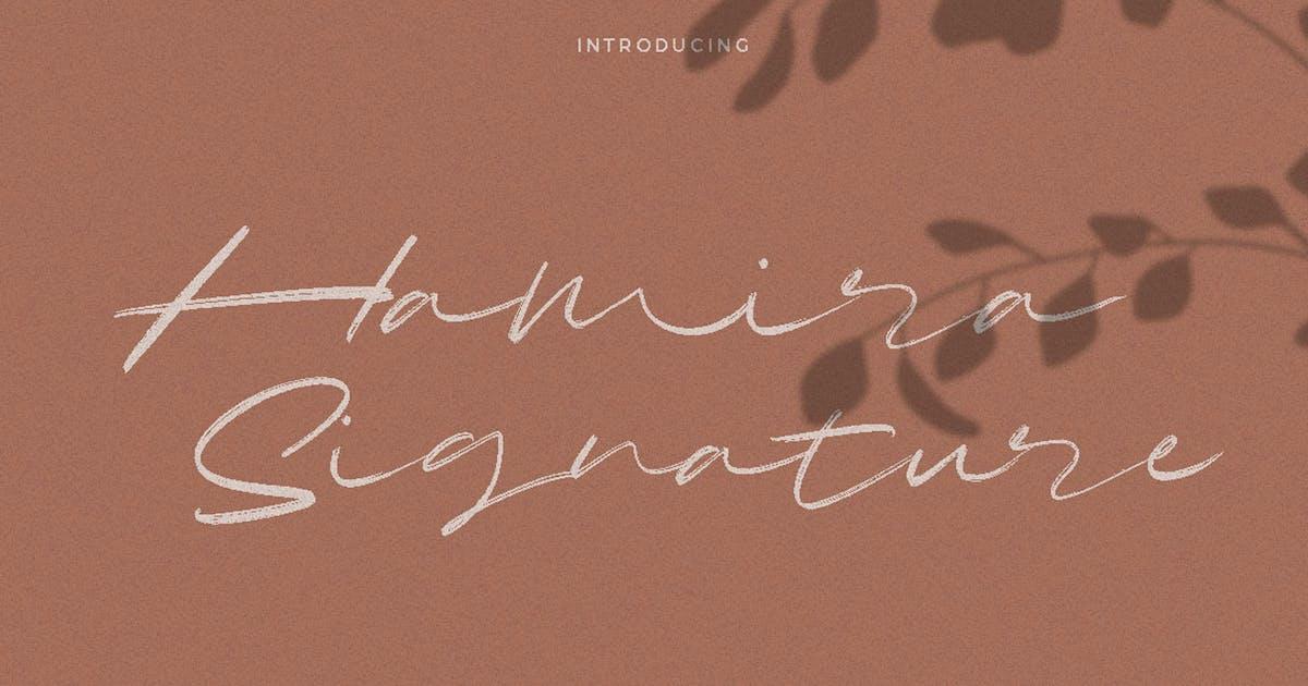 Download Hamira Signature Font Logotype Brush by dirtylinestudio