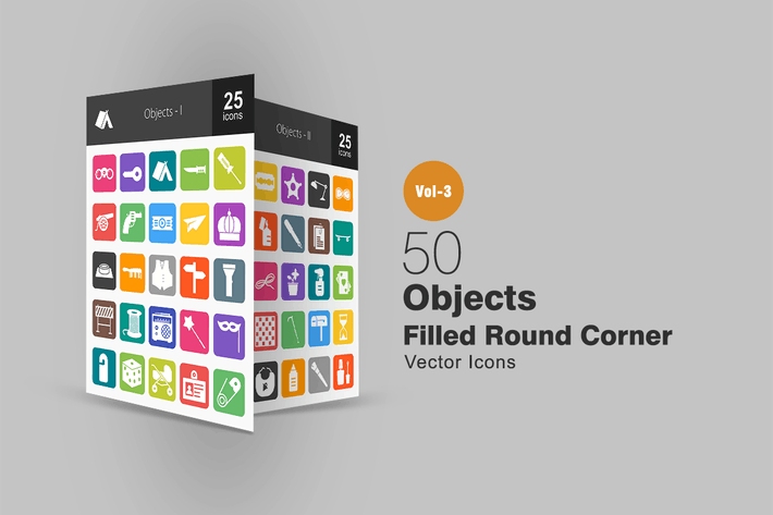 Thumbnail for 50 Objects Flat Round Corner Icons